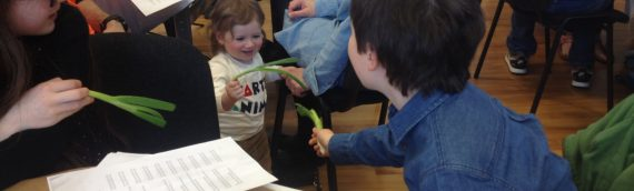 Ari and Aaron duel with Spring Onions at Communal Seder
